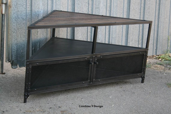 Corner Unit Tv Stand Vintage Modern Industrial Reclaimed