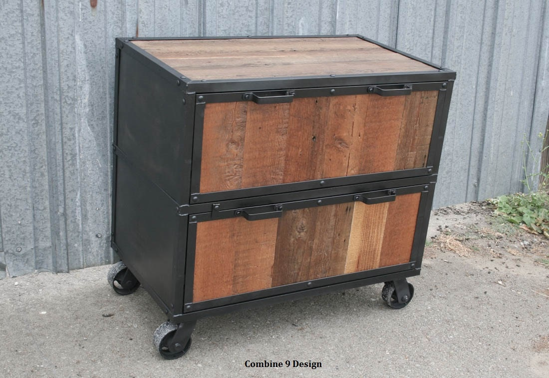 Industrial File Cabinet. Reclaimed Wood filing cabinet.