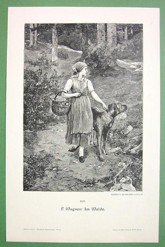 GIRL in Forest Basket of Mushrooms Dog Alert - 1890s Victorian Vintage Print