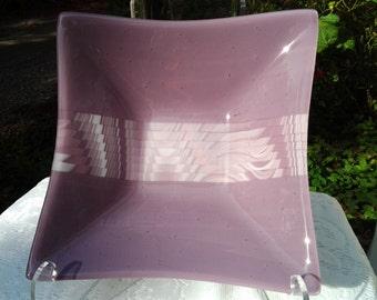 Fused Glass Square Bowl, Purple Mauve Orchid Art Glass Serving Bowl, Home Decor - 019