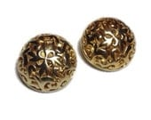 Signed BEN-AMUN Vintage Gold Tone 3D Hollow Dome Floral Cut Out Clip Back Earrings