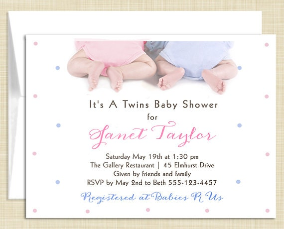 10 Twins Baby Shower Invitations - Boy Girl Gender Neutral - Tiny Toes - PRINTED