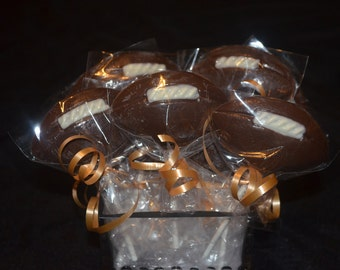 12 Chocolate Football Lollipops