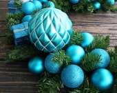 Christmas Garland, 9 Foot Pine Holiday Garland With Blue Ornaments - DyJoDesigns