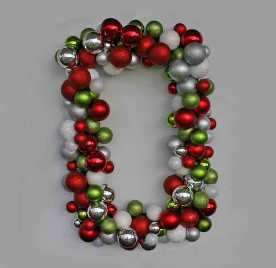 Christmas Wreath, Holiday Wreath, Ornament Wreath, Rectangular Christmas Ornament Wreath, XXL Wreath
