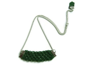 Green Necklace, Charm Necklace, Cord Rope Necklace, Macrame, Woven Necklace, Silver Plated, Fringe, Knot Necklace, OOAK
