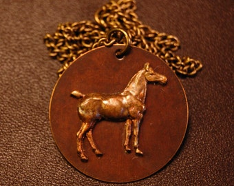 Brass Horse Metal Pendant - Jewelry for Horse Lovers