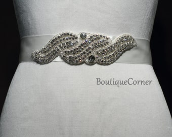 Bridal Sash-Beaded Rhinestone Sash-Wedding Accessory-Off White Ribbon Sash-Bridal Belt-Bridal Accessories