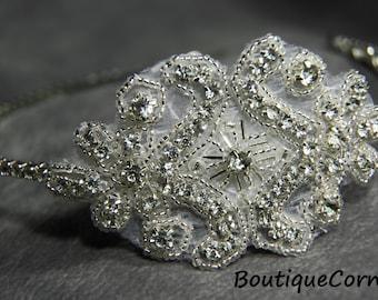 Beaded rhinestone Headband - Crystal Headband - Rhinestone Wedding Headband - Wedding Hair Accessories -  Bridal Hair  Accessory