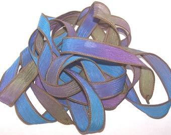 Sassy Silks Hand Painted Silk Ribbon Wrist Wrap Wild Violets