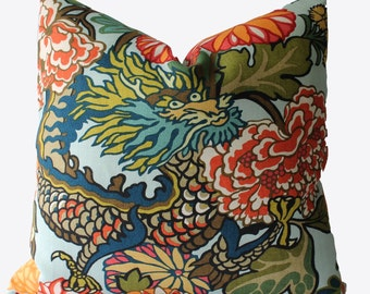 Decorative Designer Chiang Mai Dragon Schumacher Aquamarine, 18x18, 20x20, 22x22, Throw Pillows