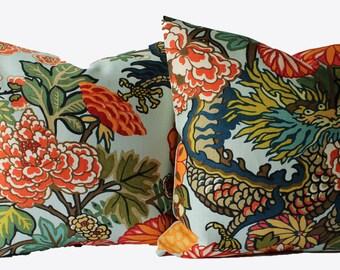 Decorative Designer Pair Chiang Mai Dragon Schumacher Aquamarine, 18x18, 20x20, 22x22, Throw Pillows