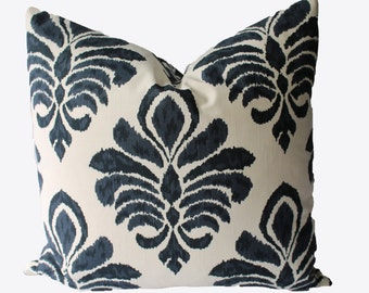 Decorative Designer Indigo Blue Ikat Damask Pillow Cover, 18x18, 20x20, 22x22 Throw Pillow