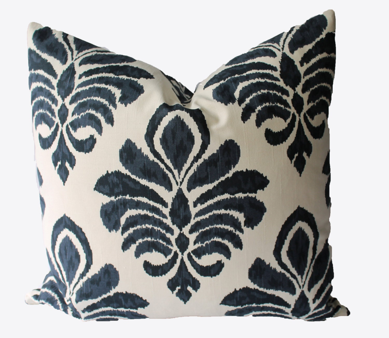 Decorative Pillows Indigo : Decorative Designer Indigo Blue Ikat Damask Pillow Cover