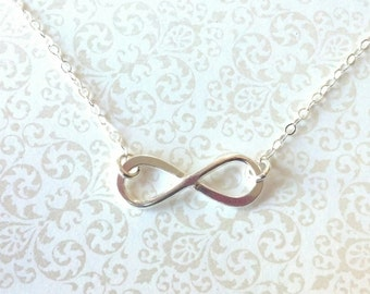 Infinity Best Friend Necklace Sterling Silver--Everyday Simple Jewelry--Gift for Best Friend