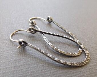Modern Notched Hoop Earrings, Sterling Silver Earrings, Hoop Earrings, Minimalist Earrings, Dangle Earrings, Long Oxidized Hoop Earrings