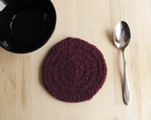Hand felted round wool trivet, maroon, medium size for teapot, soup bowl, great mum's day gift