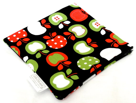Clearance 25% Off! Sandwich Bag - Reusable - Zippered  - Waterproof - Large - Cloth Pad Wrapper - Sale - Discount - Metro Apples Black