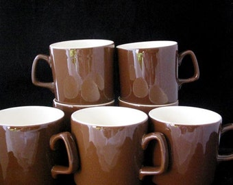 7 Royal China (USA) Brown Coffee Cups SET of 7 Vintage 1960s
