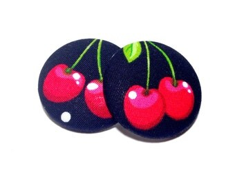 Oversized Red Cherries Print Button Earrings
