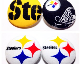 Oversized Pittsburgh Steelers Print Button Earrings
