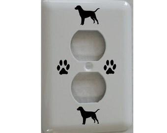 Labrador Retriever Dog Outlet Cover Metal with Paw Prints