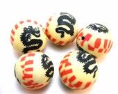 5 Pcs Handmade Polymer Clay Beads With Dragon Fashion - 26mm Diameter, 2mm Hole B004