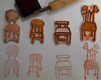 Chairs- Handmade Unmounted Rubber stamps