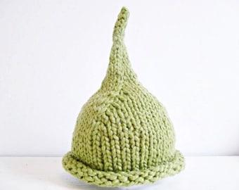 Soft Organic Baby Elf Hat - Green Newborn Boy or Girl Pixie Hat - Organic Cotton - Also in Preemie, 3-6 months - Great Shower Gift