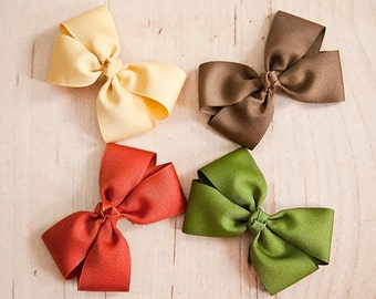 Fall Hair Bow Set - Rust, Beige, Olive and Light Brown Hair Bows - Basic Hair Bow Collection