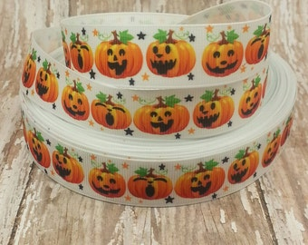 7/8 Grosgrain Halloween Pumpkin Jack o Lantern  Ribbon 5 yard cut
