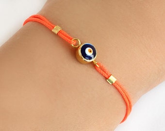 Turkish evil eye bracelet, handmade bracelet, neon orange paracord, istanbul turkish jewelry, ethnic, arabic, best friend birthday gift
