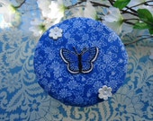 Blue Paisley Butterfly and White Flowers Pup Dog Food Can Cover Lid - One Size Fits 5.5 Ounces and Up