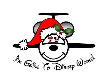 Disney Shirt Mickey Santa Hat with Holly Jet Personalized Custom Iron on Transfer Decal(iron on transfer, not digital download)