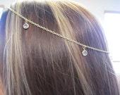 Gold Head Chain with Swarovski Crystals