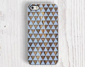 Blue Geometric iPhone 6s Case, Wood Print iPhone 5S Case, Pastel iPhone 7 case, Blue Wood iPhone 5C Case