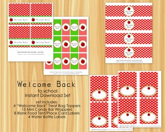 Welcome Back to School Mini Party Package | Apple Mini Party Package | Treat Topper, Candy Bar Wrapper, Water Bottle Label, Place Card Set