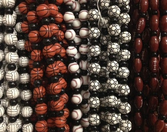 Baseball, basketball, football, soccer ball, volley ball beads, acrylic, sports