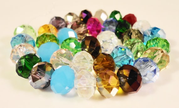Multicolor Rondelle Crystal Beads 8x6mm (6x8mm) Faceted Chinese Crystal Glass Beads for Jewelry Making on an 8 1/4 Inch Strand with 35 Beads