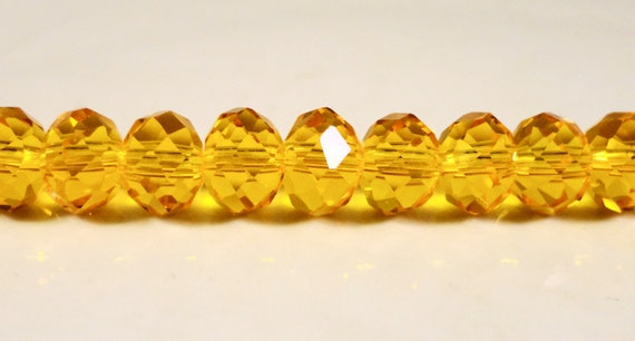 Orange Rondelle Crystal Beads 8x6mm (6x8mm) Light Yellow-Orange Faceted Chinese Crystal Glass Abacus Beads on an 8 Inch Strand with 35 Beads