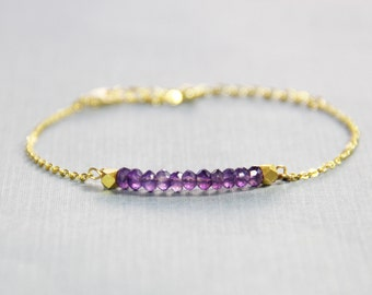 Gold Amethyst Bracelet - February Birthstone Bracelet - Amethyst Bracelet