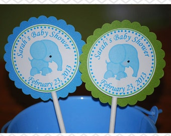 Blue Elephant Cupcake Toppers - Set of 12 Personalized Birthday Baby Shower Party Decorations