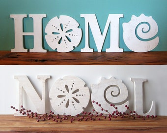 HOME - NOEL COMBO (a total of 6 letters) beach, coastal, word sign, beach cottage, shabby chic, sand dollar, seashell , Christmas decor