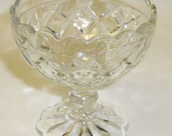 Hocking Depression Glass Crystal WATERFORD WAFFLE 3 1/2 Inch Scalloped Footed Sherbet