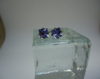Princess Cut Tanzanite Earrings in Sterling Silver   #873