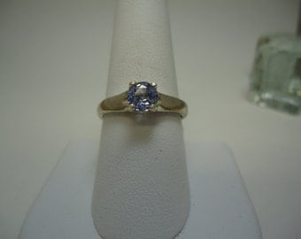 Round Cut Sapphire Ring in Sterling Silver
