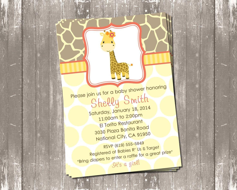 cute giraffe baby shower invitation peach or green digital