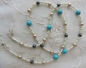 Eyeglass Chain  Turquoise Howlite  Hematite  Pearls