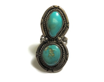 Sterling Silver Two Stone Turquoise Ring - Size 8 - Weight 11 Grams - Infinity - Eight Shape Ring - Southwestern - REDUCED