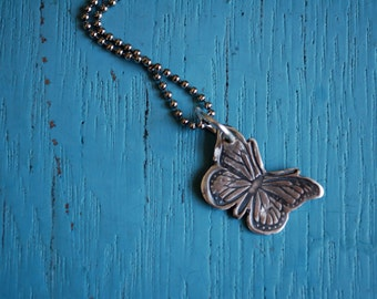 Silver Butterfly Necklace, Fine Silver Monarch Necklace